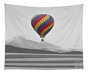Colorful Hot Air Balloon And Longs Peak Tapestry