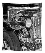 Colorful Vintage Car In Black And White Tapestry