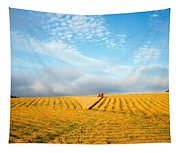Combine Harvesting A Wheat Field Tapestry