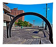 Coney Island Bench View Tapestry