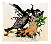Cormorants On Mangrove Stumps Filtered Tapestry