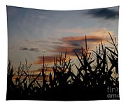 Corn Field With Orange Clouds Tapestry