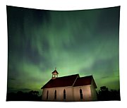 Country Church And Northern Lights Tapestry