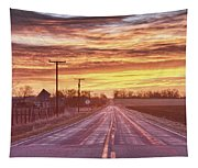 Country Road Sunrise Tapestry