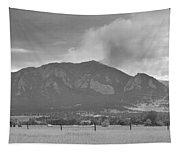 Country View Of The Flagstaff Fire Panorama Bw Tapestry