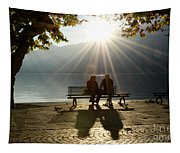 Couple On A Bench Tapestry