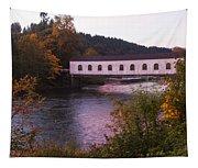 Covered Bridge At Dawn No. 2 Tapestry