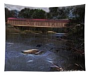 Covered Bridge In The Rain Tapestry