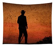 Cowboy At Sunset Tapestry