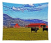 Cows Pasture Barns Superspecialeffect Tapestry