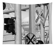 Crossing Signs In Black And White  Tapestry