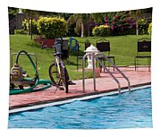 Cycle Near A Swimming Pool And Greenery Tapestry