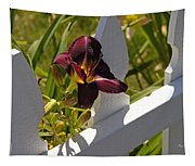 Day Lily And White Fence II Tapestry