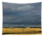 Dead Tree At Dusk With Storm Clouds Tapestry