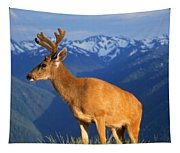 Deer With Antlers, Mountain Range In Tapestry