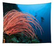 Divers And Whip Coral Tapestry