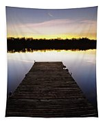 Dock At Sunset Tapestry