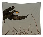 Double Crested Cormorant Coming Tapestry