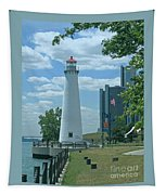 Downtown Detroit Lighthouse Tapestry