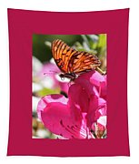 Dreaming Of Butterflies And Pink Flowers Tapestry