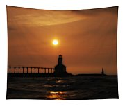 Dreamy Sunset At The Lighthouse Tapestry