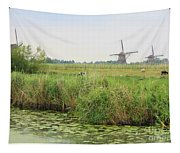 Dutch Landscape With Windmills And Cows Tapestry