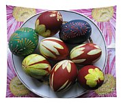 Easter Eggs. Plant Print And Wax Drawing. Tapestry