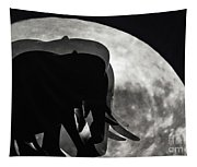 Elephants On Moonlight Walk Tapestry