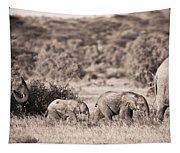 Elephants Walking In A Row Samburu Kenya Tapestry