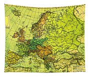 Europe Map Of 1911 Tapestry