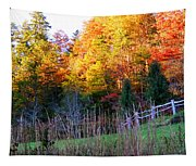 Fall Trees And Fence Tapestry