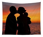 Family Silhouettes At Sunset Tapestry