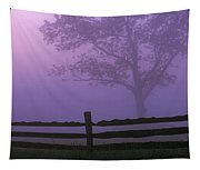 Fenceline Silhouette With Tree Tapestry