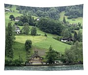 Few Houses On The Slope Of Mountain Next To Lake Lucerne Tapestry