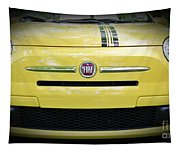 Fiat 500 Yellow With Racing Stripe Tapestry