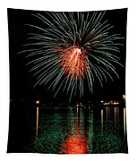 Fireworks Of Green And Red Tapestry