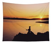 Fishing At Sunset, Roaring Water Bay Tapestry