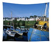 Fishing Boats At A Harbor, Roundstone Tapestry