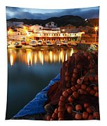Fishing Harbour At Dusk Tapestry