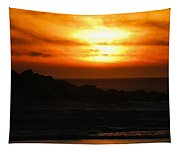 Fishing Vessel At Sunset Tapestry