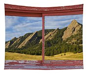 Flatirons Boulder Colorado Red Barn Picture Window Frame Photos  Tapestry