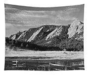 Flatirons From Chautauqua Park Bw Tapestry