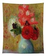 Floral Arrangement In Green Vase Tapestry
