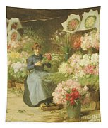 Flower Seller In Front Of The Madeleine Church Tapestry