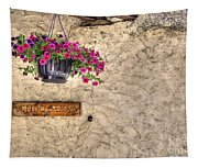 Flowers And A Signboard Tapestry