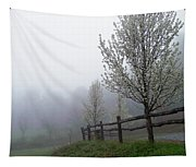 Foggy Trees In The Valley Tapestry