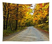 Follow The Yellow Leafed Road Painted Tapestry