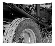 Ford Tractor Details In Black And White Tapestry