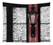 French Quarter Gas Lamp With Red Tapestry