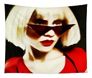 Funky Red Glasses Tapestry